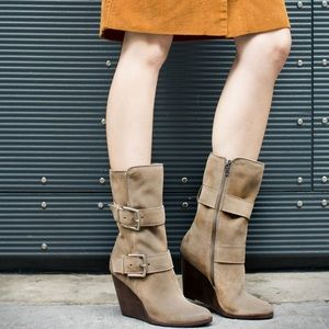 Frye Cece Leather Wedge Buckle Boots